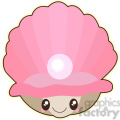 clam with pearl cartoon character vector image