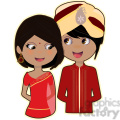 Indian Bride and Groom cartoon character vector image