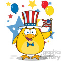 Royalty Free RF Clipart Illustration Patriotic Yellow Chick Cartoon Character Waving An American Flag On Independence Day Vector Illustration Isolated On White