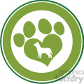 royalty free rf clipart illustration love paw print green circle banner design with dog silhouette  gif, png, jpg, eps, svg, pdf