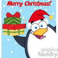 royalty free rf clipart illustration merry christmas with penguin cartoon mascot character holding up a stack of gifts gif, png, jpg, eps, svg, pdf