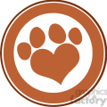 royalty free rf clipart illustration love paw print brown circle banner design  gif, png, jpg, eps, svg, pdf