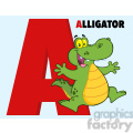 Illustration Funny Cartoon Alphabet A With Aligator
