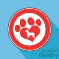 8253 Royalty Free RF Clipart Illustration Love Paw Print Red Circle Icon Modern Flat Design Vector Illustration