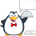 royalty free rf clipart illustration waiter penguin serving food on a platter with speech bubble  gif, png, jpg, eps, svg, pdf