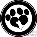 royalty free rf clipart illustration love paw print black circle banner design with dog head silhouette gif, png, jpg, eps, svg, pdf