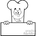 royalty free rf clipart illustration black and white smiling bone cartoon mascot character over a blank sign gif, png, jpg, eps, svg, pdf