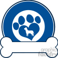 illustration veterinary blue circle label design with love paw dog and bone  gif, png, jpg, eps, svg, pdf