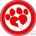royalty free rf clipart illustration love paw print red circle banner design with dog head silhouette gif, png, jpg, eps, svg, pdf