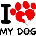 Royalty Free RF Clipart Illustration I Love My Dog Text With Red Heart Paw Print And Dog Head Silhouette