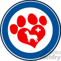 Royalty Free RF Clipart Illustration Veterinary Love Paw Print Blue Circle Banner Design With Dog And Cross