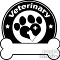 Royalty Free RF Clipart Illustration Veterinary Black Circle Label Design With Love Paw Dog, Cross And Bone Under Text