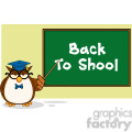 royalty free rf clipart illustration wise owl teacher cartoon mascot character in front of school chalk board with text gif, png, jpg, eps, svg, pdf