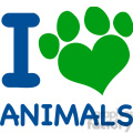 Royalty Free RF Clipart Illustration I Love Animals Text With Heart Paw Print In Blue And Green