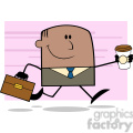 royalty free rf clipart illustration lucky african american businessman running to work with briefcase and coffee cartoon character on background gif, png, jpg, eps, svg, pdf