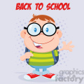 Royalty Free RF Clipart Illustration Happy Geek Boy Waving Flat Design Wit Text