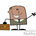 Royalty Free RF Clipart Illustration Smiling African American Businessman Cartoon Character Waving