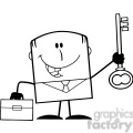 royalty free rf clipart illustration black and white happy businessman with briefcase holding a golden key cartoon character gif, png, jpg, eps, svg, pdf