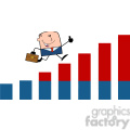 royalty free rf clipart illustration businessman giving a thumb up and running over growing bar chart cartoon character gif, png, jpg, eps, svg, pdf