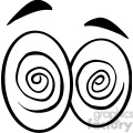 Royalty Free RF Clipart Illustration Black And White Hypnotized Cartoon Eyes
