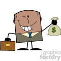 royalty free rf clipart illustration winking african american businessman with briefcase holding a money bag cartoon character on background gif, png, jpg, eps, svg, pdf