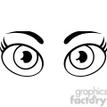 Royalty Free RF Clipart Illustration Black And White Cartoon Women Eyes