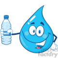 Water Drop Character Holding Up A Water Bottle