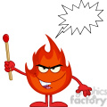 Royalty Free RF Clipart Illustration Evil Fire Cartoon Mascot Character Holding Up A Match Stick With Speech Bubble