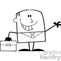 royalty free rf clipart illustration black and white smiling businessman cartoon character waving  gif, png, jpg, eps, svg, pdf