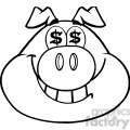 Royalty Free RF Clipart Illustration Black And White Smiling Rich Pig Head With Dollar Eyes