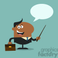 8356 Royalty Free RF Clipart Illustration African American Manager Holding A Pointer Stick Flat Style Vector Illustration With Speech Bubble