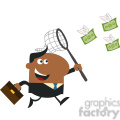 8297 Royalty Free RF Clipart Illustration African American Manager Chasing Flying Money With A Net Flat Design Style Vector Illustration