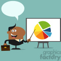 8362 Royalty Free RF Clipart Illustration African American Manager Pointing Progressive Pie Chart On A Board Flat Style Vector Illustration With Speech Bubble