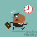 8274 Royalty Free RF Clipart Illustration Hurried African American Manager Running Past A Clock Modern Flat Design Vector Illustration