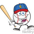 Happy Baseball Ball with hat Swinging A Baseball Bat