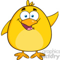 8586 Royalty Free RF Clipart Illustration Happy Yellow Chick Cartoon Character Waving Vector Illustration Isolated On White