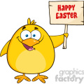 8616 Royalty Free RF Clipart Illustration Happy Yellow Chick Cartoon Character Holding A Happy Easter Sign Vector Illustration Isolated On White