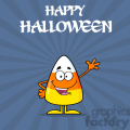 8875 Royalty Free RF Clipart Illustration Funny Candy Corn Cartoon Character Waving Vector Illustration With Background And Text vector clip art image