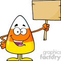 8879 Royalty Free RF Clipart Illustration Funny Candy Corn Cartoon Character Holding A Wooden Board Vector Illustration Isolated On White vector clip art image