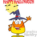 8887 Royalty Free RF Clipart Illustration Happy Candy Corn Cartoon Character With A Witch Hat Waving Vector Illustration Isolated On White And Text vector clip art image
