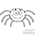 8950 Royalty Free RF Clipart Illustration Black And White Funny Spider Cartoon Character Vector Illustration Isolated On White