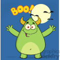 8933 Royalty Free RF Clipart Illustration Happy Horned Green Monster Cartoon Character With Welcoming Open Arms And Boo Text Vector Illustration vector clip art image