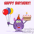 8915 Royalty Free RF Clipart Illustration Cute Monster Holding Up A Colorful Balloons And Birthday Cake Vector Illustration Greeting Card vector clip art image