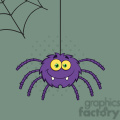 8954 Royalty Free RF Clipart Illustration Smiling Purple Halloween Spider Cartoon Character On A Web With Text Vector Illustration With Background vector clip art image