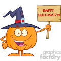8896 Royalty Free RF Clipart Illustration Happy Witch Pumpkin Cartoon Character Holding Up A Blank Wood Sign With Text Vector Illustration Isolated On White vector clip art image