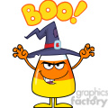 8882 Royalty Free RF Clipart Illustration Scaring Halloween Candy Corn With A Witch Hat And Text Vector Illustration Isolated On White vector clip art image