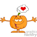 Royalty Free RF Clipart Illustration Funny Halloween Pumpkin Cartoon Mascot Character With Open Arms For Hugging And Speech Bubble With Heart