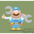 8549 Royalty Free RF Clipart Illustration Mechanic Cartoon Character Holding Huge Wrench And Giving A Thumb Up Flat Syle Vector Illustration