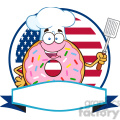 8673 Royalty Free RF Clipart Illustration Chef Donut Cartoon Character With Sprinkles Over A Circle Blank Label In Front Of Flag Of USA Vector Illustration Isolated On White