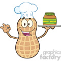 8744 Royalty Free RF Clipart Illustration Chef Peanut Cartoon Mascot Character Holding A Jar Of Peanut Butter Vector Illustration Isolated On White